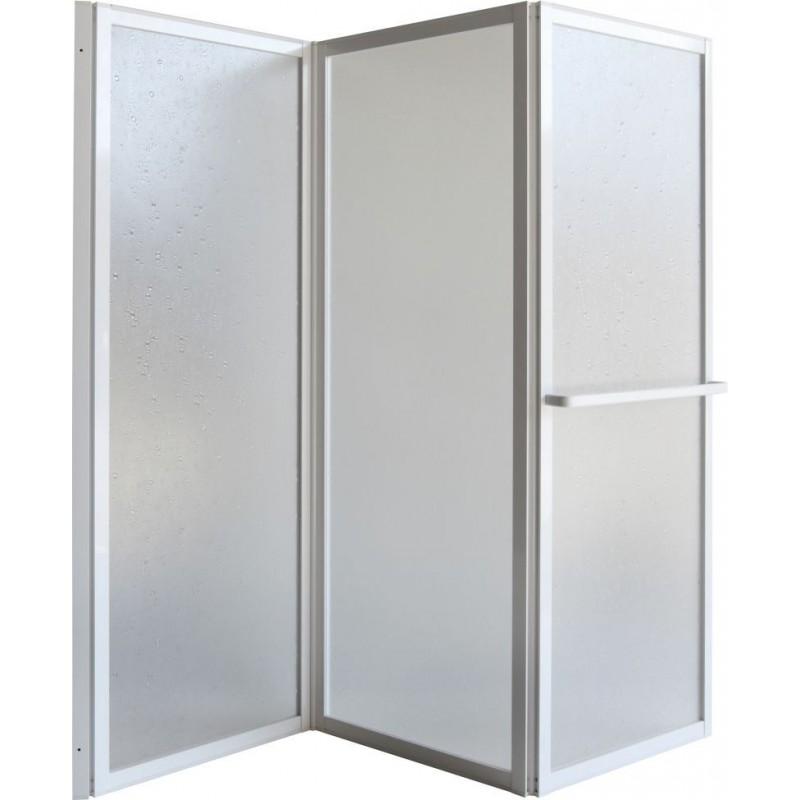 Vanová zástěna KARINA - 68 cm × 135 cm, Posuvné, Hliník bílý, Polystyrol, Univerzální