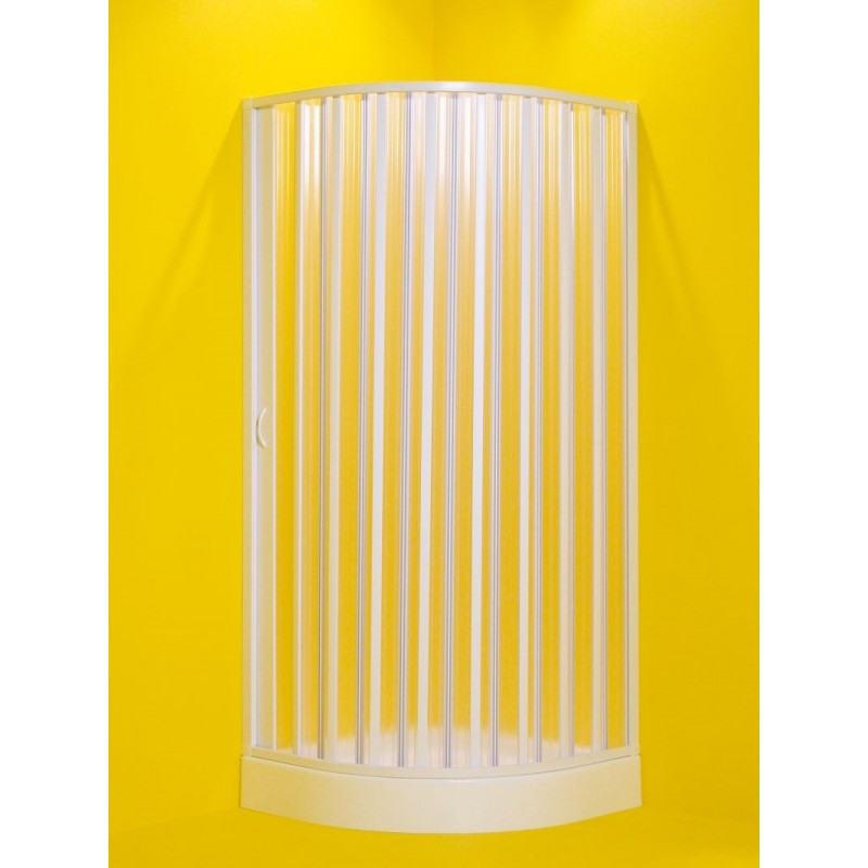 Čtvrtkruhový sprchový kout LUNA - 185 cm, 75 - 90 cm × 75 - 90 cm, Levé (SX), Plast bílý, Polystyrol