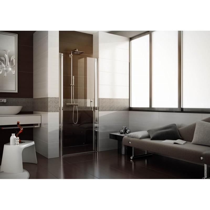Sprchové dveře DOMUS - 84 - 87 cm, 190 cm, Levé (SX), Leštěný hliník, Čiré bezpečnostní sklo - 6 mm