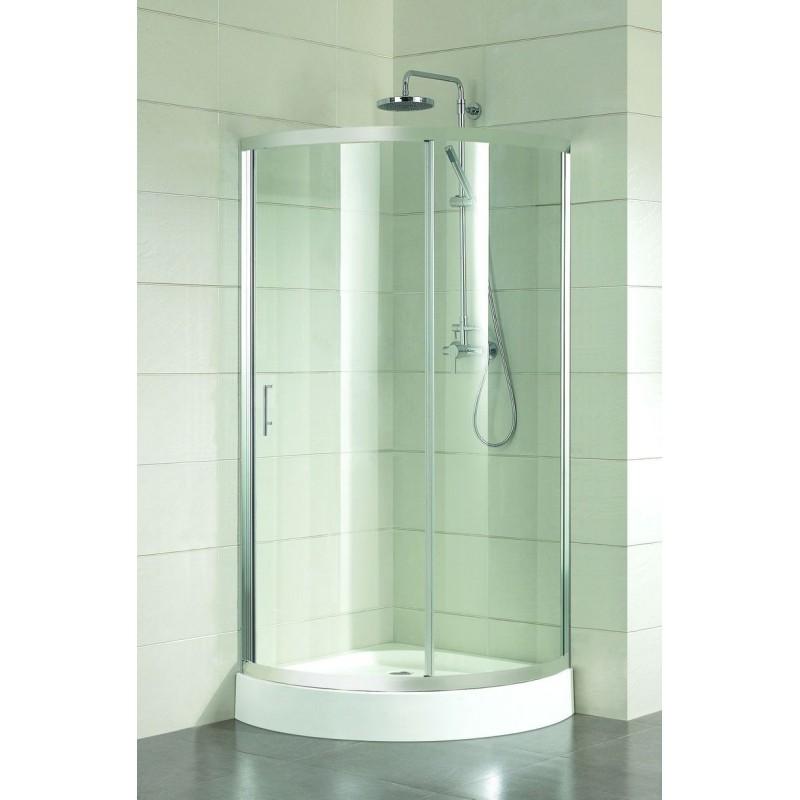 Sprchový kout ALBATERA - 185 cm, 90 cm × 90 cm, Univerzální, Leštěný hliník, Čiré bezpečnostní sklo - 4 mm, Vanička z litého mramoru
