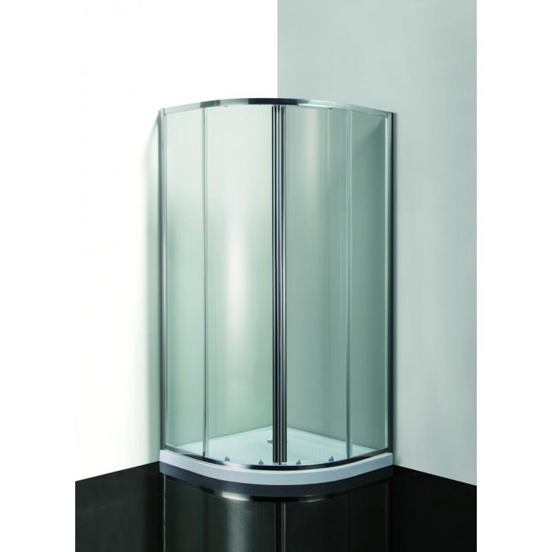 VÝHODNÝ SET - čtrtkruhový sprchový kout Smart - MURO s vaničkou - 190 cm, 90 cm × 90 cm, Univerzální, Hliník chrom, Čiré bezpečnostní sklo - 6 mm