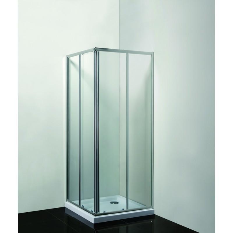 VÝHODNÝ SET - ČTVEREC Smart - RANDA s vaničkou - 190 cm, 90 cm × 90 cm, Univerzální, Hliník chrom, Čiré bezpečnostní sklo - 6 mm