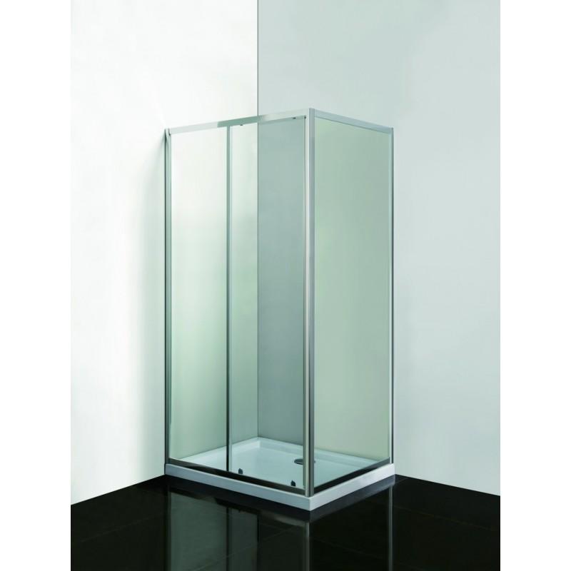 VÝHODNÝ SET - OBDÉLNÍK s vaničkou (SELVA + PINA) - 190 cm, 100 cm × 80 cm, Univerzální, Hliník chrom, Čiré bezpečnostní sklo - 6 mm, Vanička z litého mramoru