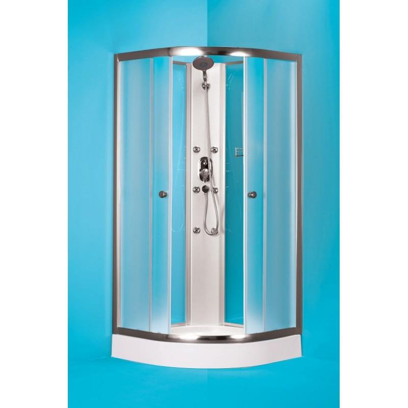 Čtvrtkruhový sprchový box GRANADA - 185 cm, 90 cm × 90 cm, Univerzální, Hliník chrom, Matné bezpečnostní sklo - 5 mm, Standard bez vaničky