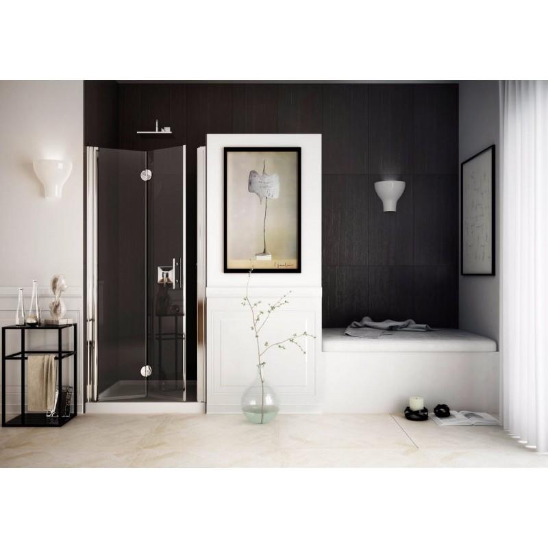 Sprchové dveře SPACEDUE - 88 - 91 cm, 190 cm, Pravé (DX), Leštěný hliník, Čiré bezpečnostní sklo - 6 mm