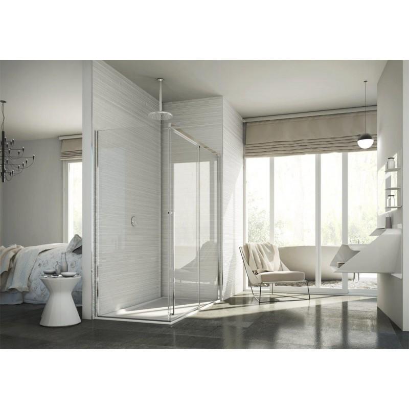 Sprchový kout AVIOR - 200 cm, Levé (SX), Leštěný hliník, Čiré bezpečnostní sklo - 8 mm, Boční panel: 70,5 - 90 x 200 (v) cm