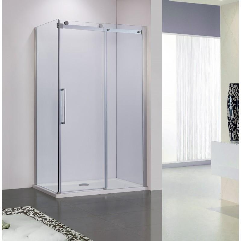 Obdélníkový sprchový kout BELVER KOMBI - 195 cm, 110 cm × 80 cm, Univerzální, Hliník chrom, Čiré bezpečnostní sklo - 8 mm