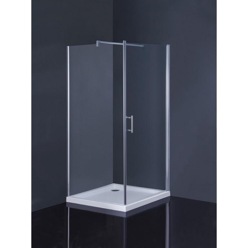 Čtvercový sprchový set OSUNA + AQUARIUS - 90 × 90 × 185 cm, Včetně vaničky, 5mm čiré